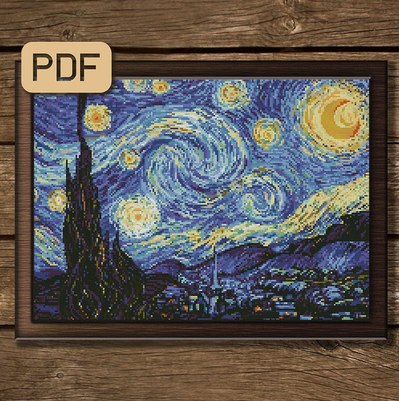 Starry Night Cross Stitch Pattern, Vincent Van Gogh Cross Stitch, Art Cross Stitch PDF, Instant Download