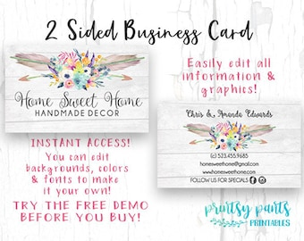 Business cards etsy diy business card home sweet home business card watercolor card template diy business card instant download card diy business card reheart Gallery