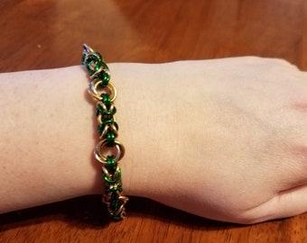 Green & Gold Byzantine Chainmail Bracelet