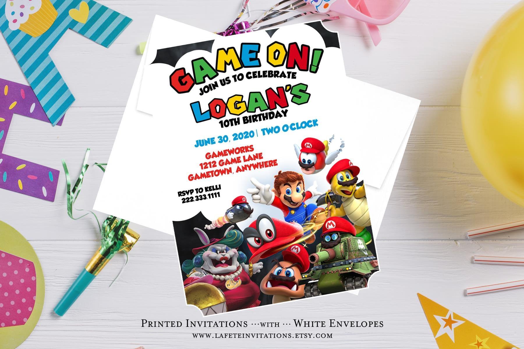 Super Mario Birthday Invitation Mario Invitation Mario | Etsy