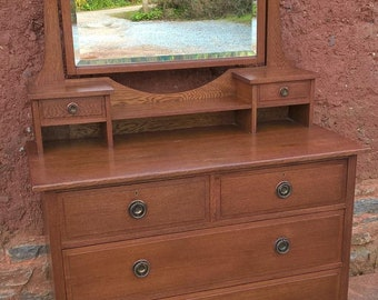 Vintage Arts And Crafts Oak Dressing Chest - Dressing Table