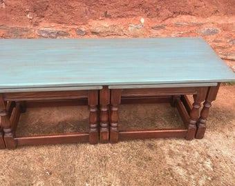 Vintage Long John Nest Of Tables Reprodux