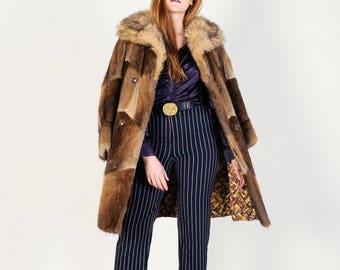 Vintage Hudson Bay Patchwork Vintage Fur Coat
