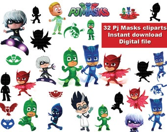 INSTANT DL  30 X Pj Masks Clipart Png   Printable Digital Clipart Party  Birthday Graphic Instant Download