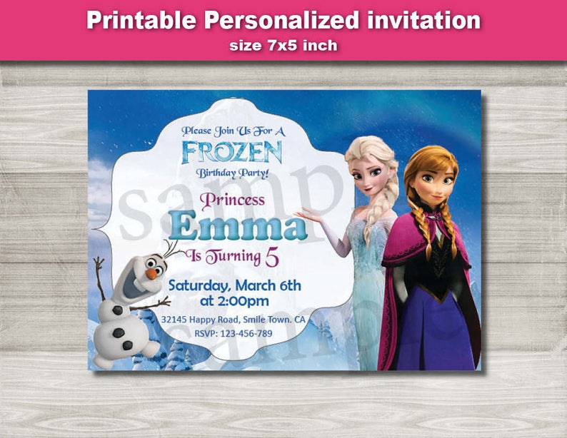 Frozen Invitation Disney Birthday Party