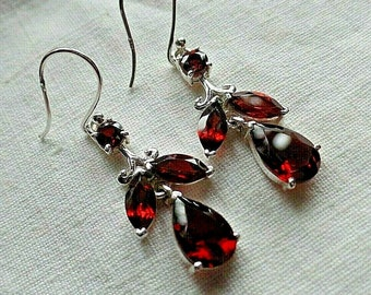 Hand Made Sterling Silver and Garnet Dangly Ear Rings January Birthstone