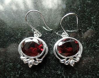 Handmade Sterling Silver and Garnet Drop Ear Rings January Birthstone