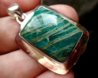 Sold Out DO NOT BUY Beni Chunky Sterling Silver Amazonite Pendant 13.3g Colorado Jade Virgo