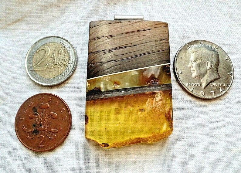 Huge and Stylish Baltic Cognac Amber and Wood with Sterling Silver Pendant 15.2g Natural  Taurus Birthstone