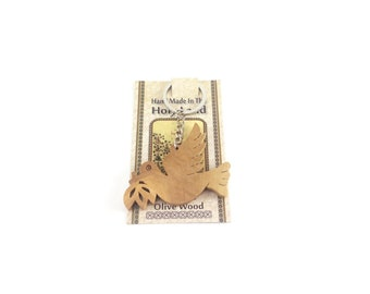 Dove of Peace Olive Wood Key Ring Key Chain Hand Carved Holy Land Bethlehem