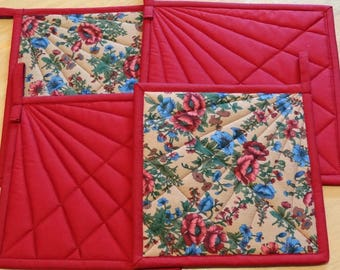 Burgundy and Floral Print Pot Holders with Double Batting, Loops, Insul- Bright and finished off with a Fan Quilting.