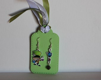 Dangle earrings with... Directly from the world of Alice in Wonderland... The Mad Hatter! Handmade