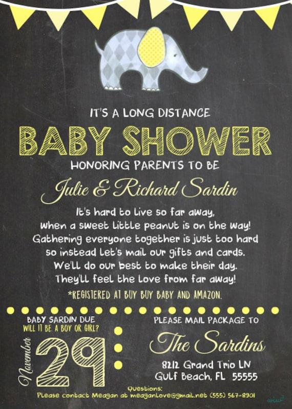 Long Distance Little Peanut Neutral Baby Shower Invitation