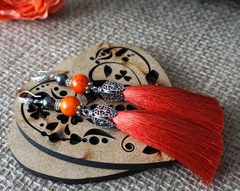 Orange silk tassel earrings Mandarin red tassel earrings Long tassel earrings Bright tassel earrings Orange boho earrings Gift for her