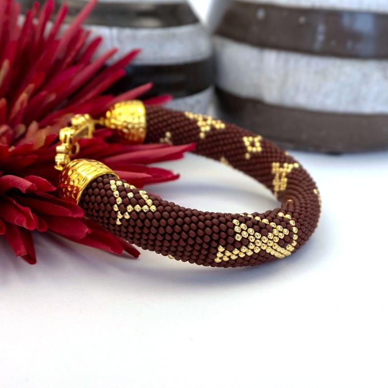 Dark brown lv bead crochet bracelet LV beaded bracelet Famous jewelry Stylish bead crochet bracelet Gift for Her