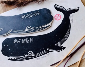 """Lino Print Whale """"Dive With Me"""" A4"""