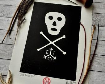 Lino Print Skull 'Jolly Roger 1850' A4