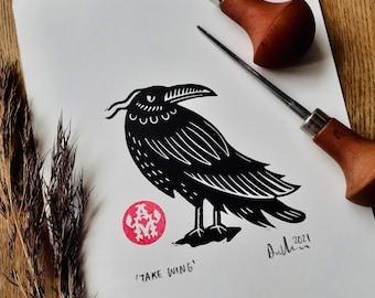 "Lino Print Bird ""Take Wing"" A5"