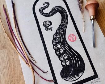 "Lino Print Octopus ""Tentacle"" A4"
