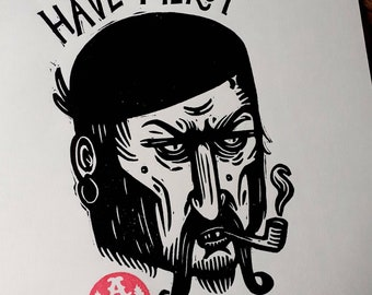"""Lino Print Pirate """"Have Mercy"""" A5"""