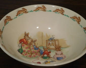Royal Doulton Bunnykins cereal bowl 1936 - Beatrix Potter/ TV Time/Nursery/Baby Shower