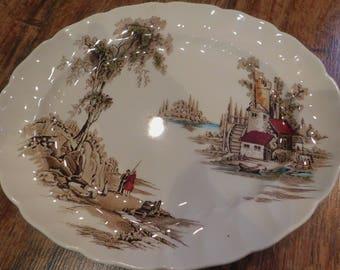 "Vintage Johnson Brothers Staffordshire ""Old Mill Multicolor"" Serving Platter"