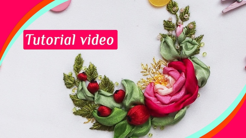 Hand embroidery patterns Ribbon Tutorial Roses Embroidery tutorial Video  Guide for embroidery ribbons Roses Embroidery pattern Roses How To