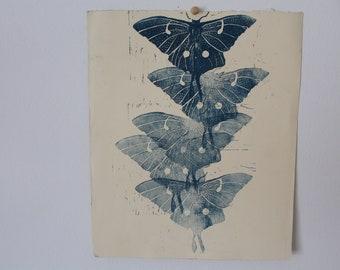 Moths flying- Linocut printed multiple times