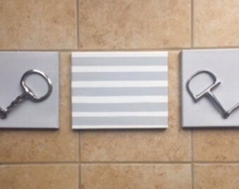 2 Gray Striped Canvases