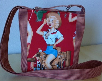 Cross Body Fabric Purse, 1950's Western Pinup Girls,  Retro Print, Cell Phone Bag, Gift Bag, Glamping Bag