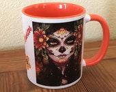 COFFEE MUG 11 oz, Day of the Dead, 2-sided, Sugar Skulls, Orange inside and handle, Dia de Los Muertos Mexican Tradition Gift