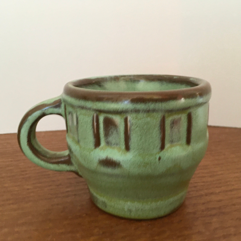 Vintage Frankoma Wagon Wheel 6 oz. Coffee / Tea Cup Prairie Green 94C Oklahoma Pottery c.1954-1980 Mint Condition SHIPS FREE