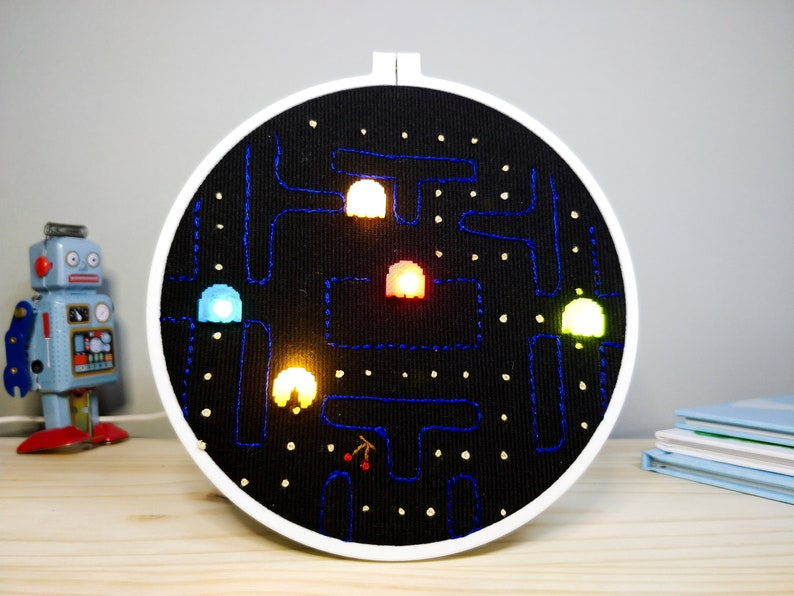 Hand Embroidered Pac-Man Maze Light