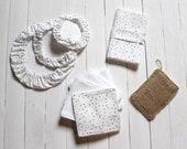 Set Zero waste, eco-friendly, 3 fabric covers 7 wipes, reusable, 1 bag foldable totebag, 1 sponge washable cotton OEKO TEX