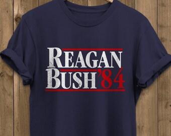 Reagan And Bush 88 - Republican Elections Campaign Retro Nostalgia Tee -  Distressed Unisex Graphic T-Shirt 4403332ea