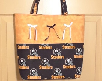 33257497115 NFL Pittsburgh Steelers Tote with Ribbon Bows/NFL Pittsburgh Steelers  Shoulder Bag