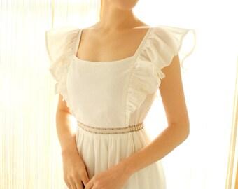 vintage ribbon white frill long dress