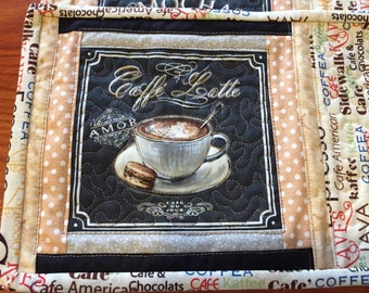 coffee themed quilted mug rugs