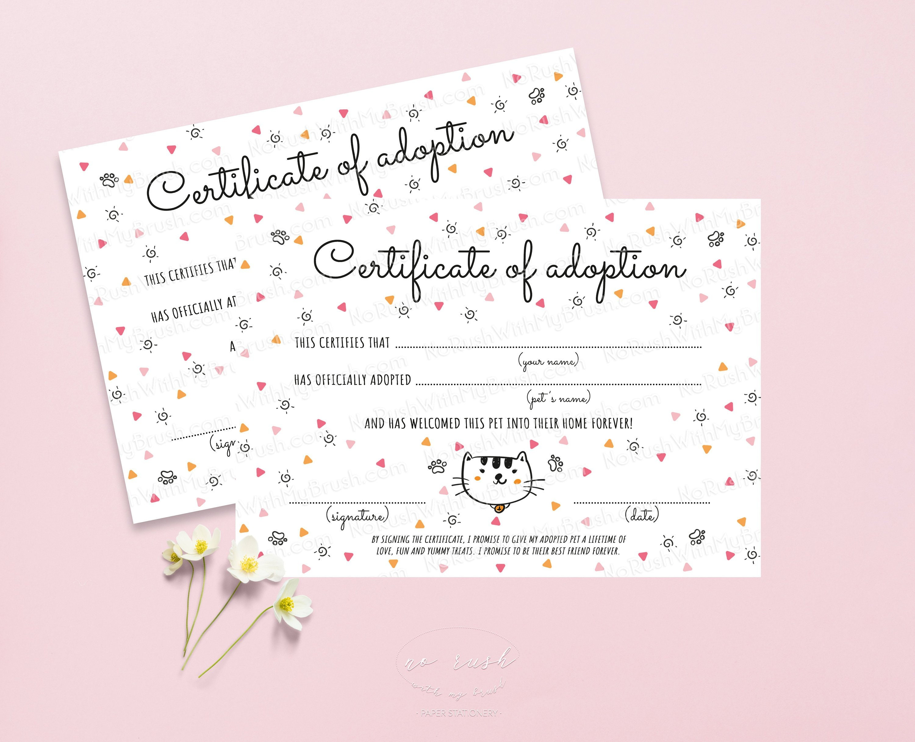 picture about Printable Adoption Certificate referred to as Kitty Adoption Certification Printable Undertake a Cat Certification of Adoption Cat Birthday Bash Prompt Obtain Undertake a Doggy Birthday Pawty