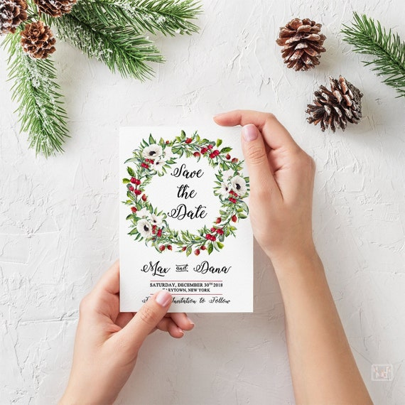 Christmas Save The Date.Winter Wedding Christmas Save The Date Card Holiday Christmas Card Christmas Wedding Announcement Invitation Rustic Save The Date Cards