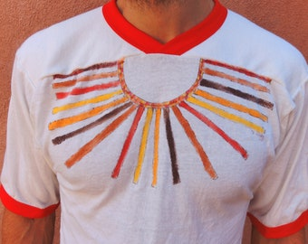 Vintage Heart Opener Hand Painted Denim Smock Shirt Chore Jacket Small Medium