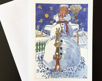"Robber Ladder-Christmas card ""snowmen, hares and carrot noses"""
