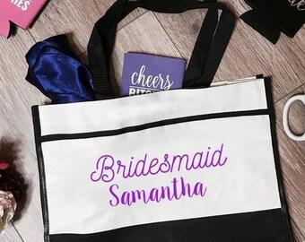 Bridesmaid Samantha Trim Tote Bag | Bridesmaid Tote Bag | Bridesmaid Totes | Bridesmaid Accessory | Bachelorette Party Totes | Bridal Gifts
