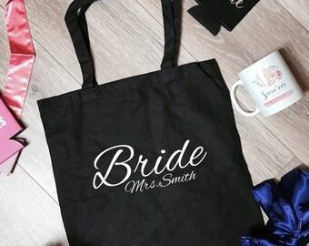 Bride Mrs. Smith Canvas Tote Bag | Bride Tote Bag | Bridal Tote Bag | Bachelorette Tote Bag | Bridal Party Tote Bag | Bachelorette Totes