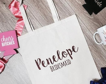 Penelope Bridesmaid Canvas Tote Bag | Bridesmaid Tote Bag | Bridesmaid Totes | Bridal Party Tote Bags | Bachelorette Party Gifts and Favors