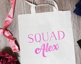 Squad Alex Canvas Tote Bag | Bride Tote Bag | Bride Totes | Bride Accessory | Bridesmaid Tote Bag | Bridal Party Totes | Bachelorette Gifts