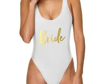 5e1e4b12c36 Bride 2 One-Piece Swimsuit | Bridesmaid Swimsuit | Personalized Swimsuit | Customized  Swimsuit | High Cut Swimsuit | High Cut OnePiece