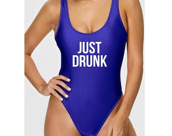 b4d78bfd4f11c Just Drunk One-Piece Swimsuit | Bridesmaid Swimsuit | Personalized Swimsuit  | Customized Swimsuit | High Cut Swimsuit | High Cut One-Piece