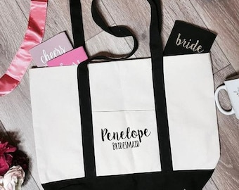 Penelope Bridesmaid Boat Tote Bag | Bridesmaid Tote Bag | Bridesmaid Totes | Bridal Party Tote Bags | Bachelorette Party Totes | Bridal Gift