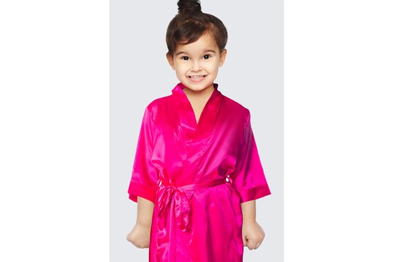 on feet at shades of buy online Hot Pink Flower Girl Robes | Personalized Satin Robes | Custom Satin Robes  | Satin Wedding Robes | Satin Bridal Robes | Satin Robe